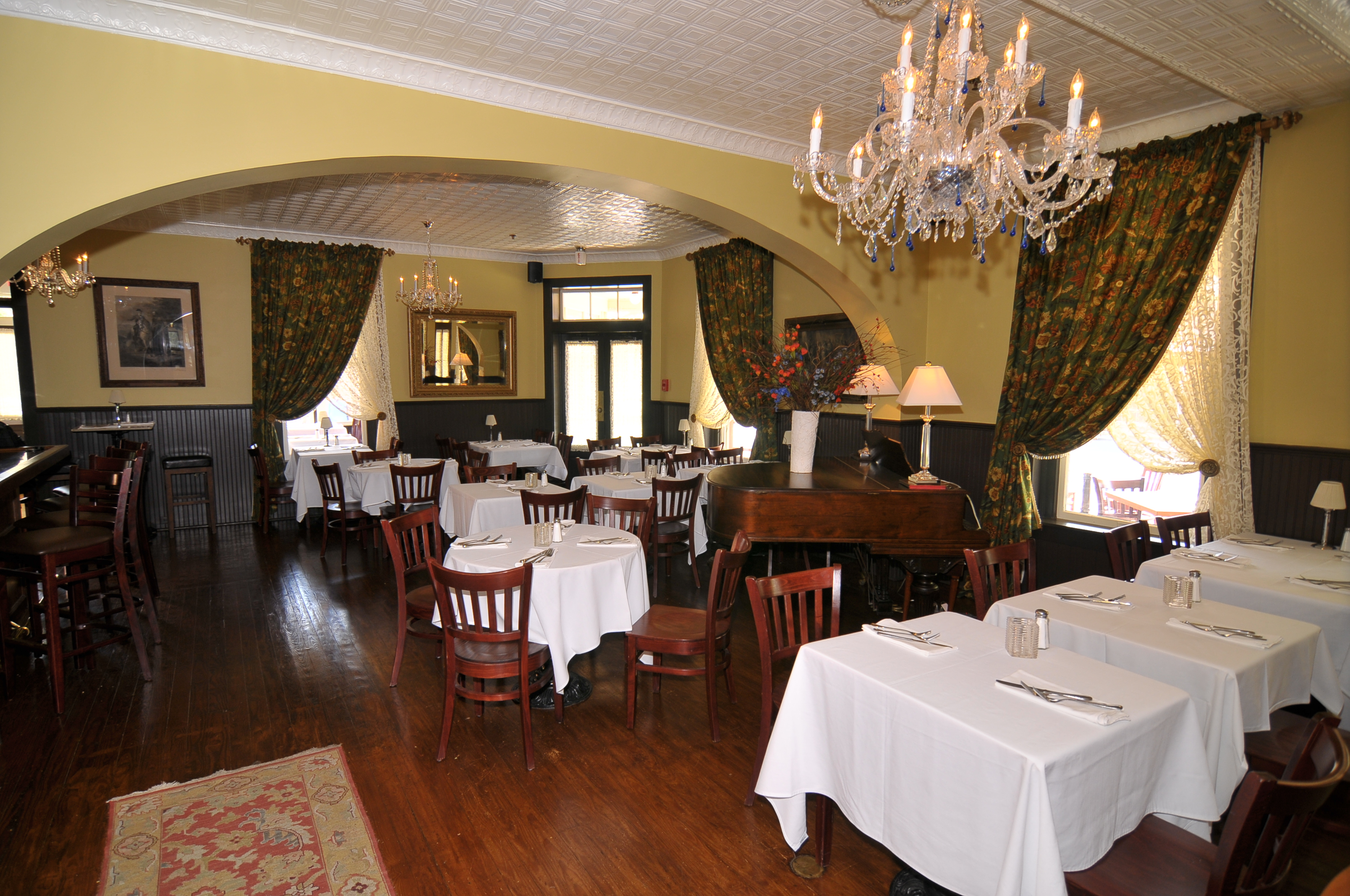 hotel restaurant dining room with tables and chairs