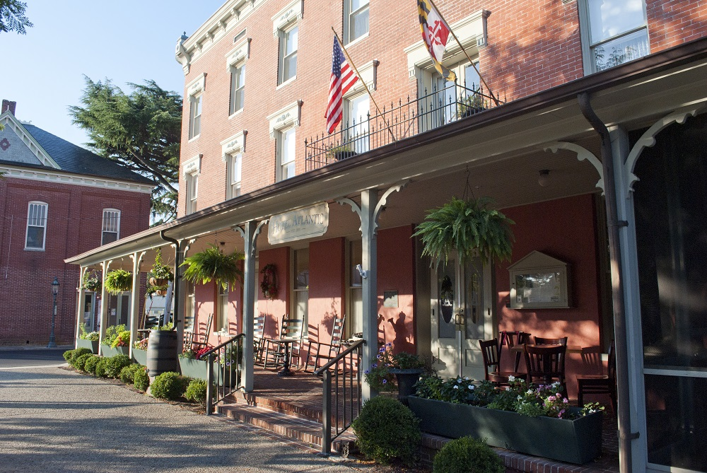 North Side View of the Front Porch Atlantic Hotel