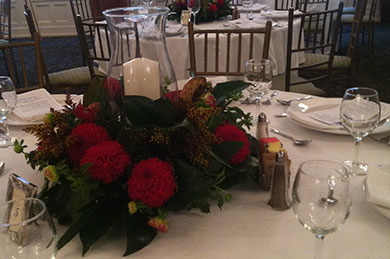 Red Floral Centerpiece set in the Ball Room Atlantic Hotel